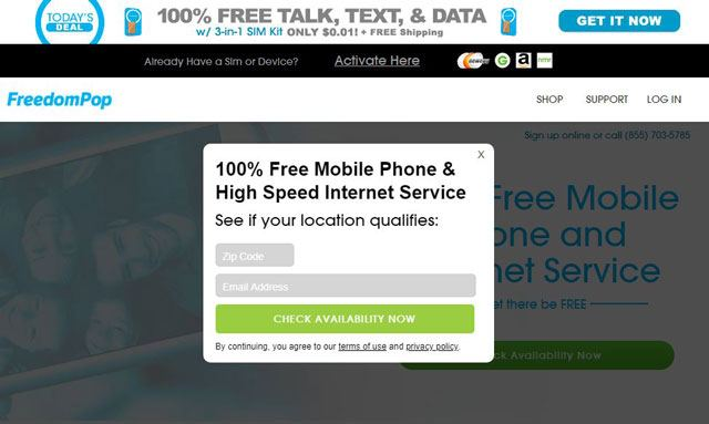 FreedomPop Homepage