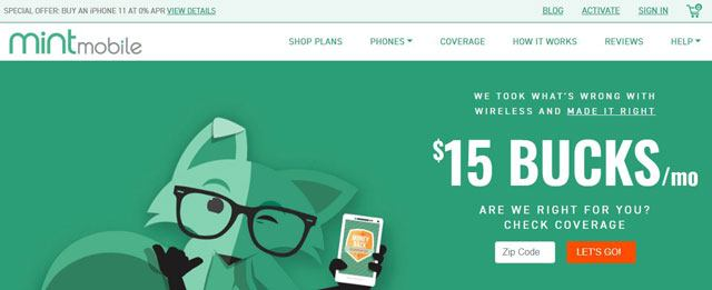 Mint Mobile Homepage
