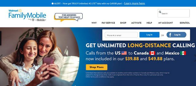 Walmart family mobile Homepage