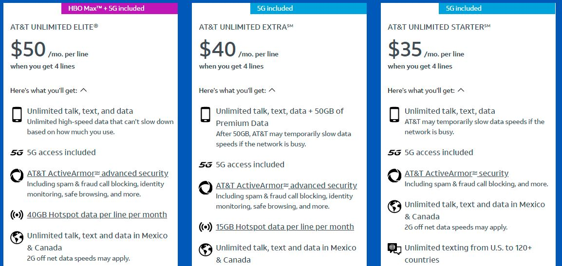 at&t phone plans